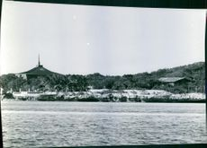 View of a beach and resort. 1972