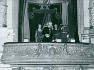 The Swedish king in the royal box at the Royal Swedish Opera in Stockholm. At the Svea Life Guards Jubilee. 2nd of December 1942.