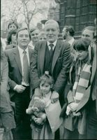 Tony Benn with supporters.