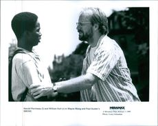 "Harold Perrineau and William Hurt in a scene of the movie, ""Smoke""."