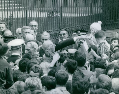 Charles de Gaulle mingling with people.  - Jun 1965