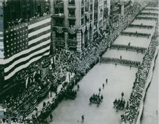 Many soldiers were marching in a road at New York in USA, 1917.