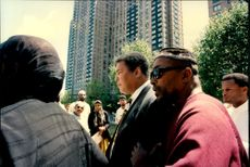 Muhammad Ali participated in the memorial ceremony of the assassinated human rights activist Dr. Shabazz.