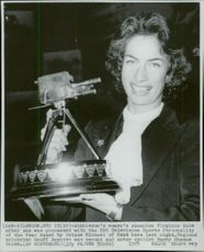"Virginia Wade with his ""BBC Sports Personality of the Year"" Trophy"