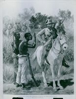 Illustration soldiers riding and talking with poor people in field.