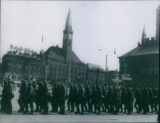 500 soldiers marching in Copenhagen during the German occupation in Denmark, 1943.