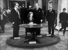 """""""Margaret Thatcher, Howe, Whitelaw and Lord Carrington"""" on Madame Tussaud's Wax Cabinet"""