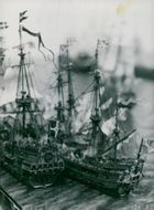 Detail of a model of the Battle of Fehmarn in 1644 under construction at the Maritime Museum