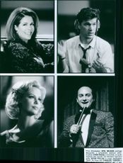Stills from the film that thing you do with Rita Wilson, Chris Isaak, Kevin Pollak, and Charlize Theron, 1996.