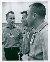 NASA crew for GT-3. John W. Young, Virgil I. (Gus) Grissom together with the GT-4 Edward H. White II pilot