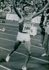 Said Aouita expressing his felling after winning. 1985