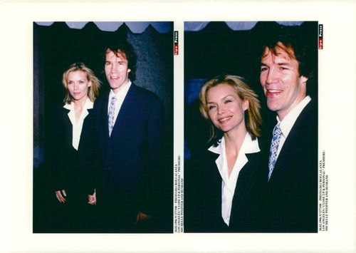 """Michelle Pfeiffer with her husband David E. Kelley at the premiere of the movie """"Time to Love"""""""