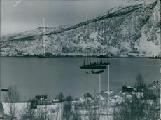 Illustration of battle ships during the battle of Narvik. 1940
