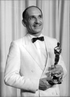 "Actor Ben Kingsley with the Oscar he won for his role as Gandhi in the movie ""Gandhi""."