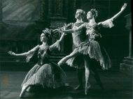 Roland Price with Susan Lucas and Nicola Katrak in the pas detrois from act one of the Sadler's Wells Royal Ballet's Swan Lake.  - 3 April 1932