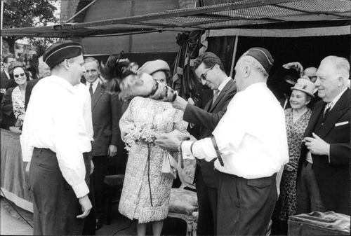 King Baudouin in funny mood, enjoying with people.