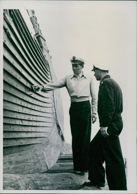 Two man beside the ship. 1950