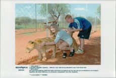 German tennis player Steffi Graf in South Africa visits the Lion Park