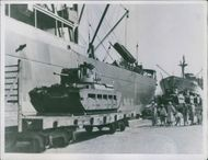 1941 British tanks arriving at one of the ports in the Middle east.
