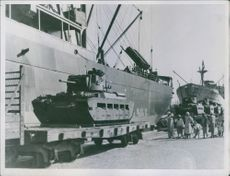 WW2 1941 Mathilda infantry tank arriving at one of the ports in the Middle east.