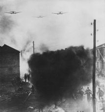 German forces in a war with flying airplane