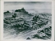 Illustration of soldiers and military tanks in a battle ground during wartime.