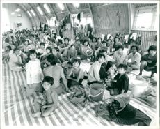 Reception centre newly arrived Vietnamese boat people.