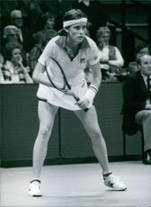 U.S. tennis player, Barbara Potter, in action, 1982.