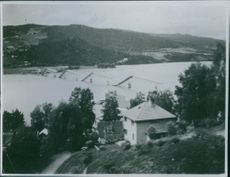 High angle view of bridge over river in Norway. 1940