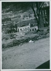 Buildings and house as war disaster in Bergen, Norway during the german invasion.