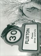 View of sign with written Flixton.