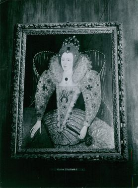 Painting of Elizabeth I, hanging on wall.