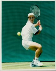 Danny Sapsford plays in the Wimbledon Championship