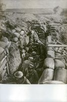 Illustration of soldiers in bunker during the World War I, 1916.