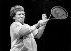 Dan Goldie in action during the Stockholm Open 1989