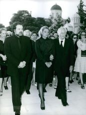Jules Dassin with his wife Melina Mercouri wearing black suit. 1972
