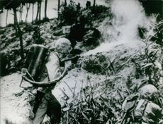 U.S. Marine using a flame thrower to burn the Japanese out of their defenses on Pacific island, WW II.