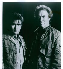 """Clint Eastwood as Nick Pulovski and Charlie Sheen as David Ackerman on the film """"The Rookie."""""""