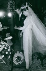 Prince Xavier and Princess Madeleine at church during the wedding ceremony, 1964.