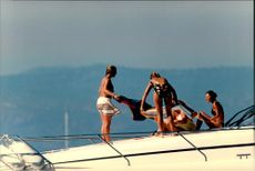 Princess Madeleine and Crown Princess Victoria with friends aboard a yacht on the French Riviera