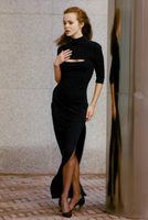 A typical Marcel Marengiu creation, full length and dark navy dress