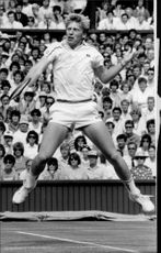 Boris Becker in search of his second Wimbledon title.