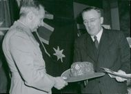 Field Marshal Viscount Montgomery surrenders the famous Australian gold digger hat