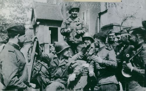 Soldiers hanging out with each other in Germany.  - 1959