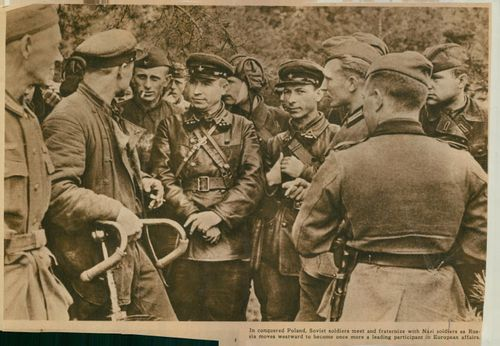 """Soviet soldier standing and meeting with another group of soldiers.  """"Russian soldier"""""""