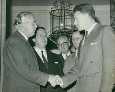 Harold Wilson Former British Prime Minister with mr smith and mr bottomley.