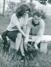 Milla Sannoner and fiancé Ivica Pajer with dog.