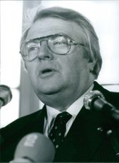 Pierre Mauroy on the microphone. 1982.