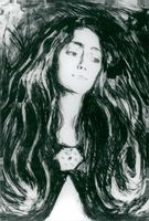 """Black white image of Edvard Munch's """"Lady with the brooch (Eva Mudocci)"""""""