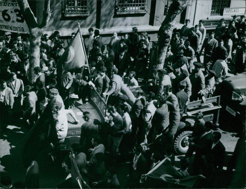People having a demonstration in the streets of Turkey. 1960.